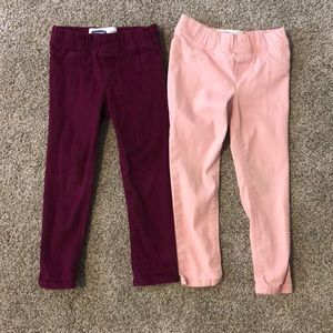 2 pairs of toddler girls old navy jeggings